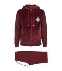 Billionaire Patch Embroidered Fleece Hoodie Male Burgundy