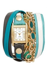 La Mer Women's Collections Leather And Chain Wrap Bracelet Watch 28Mm