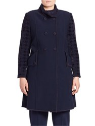 Stizzoli Plus Size Houndstooth Wool Blend Coat Navy