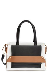 Sole Society Colorblock Faux Leather Satchel Black Black Cognac