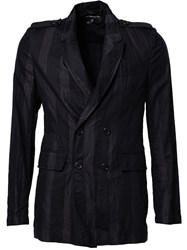 Ann Demeulemeester Striped Double Breasted Blazer Black