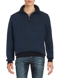 Bugatti Quarter Zip Knit Sweater Blue