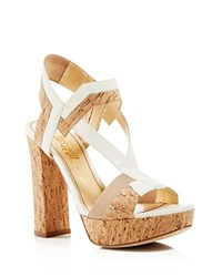 Jerome C. Rousseau Cohen Cork Platform High Heel Sandals Natural Bone