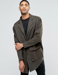 Asos Oversized Super Longline Military Jersey Duster Jacket Khaki Green