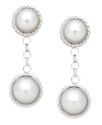 Macy's Cultured Freshwater Pearl Rope Drop Earrings In Sterling Silver 8Mm