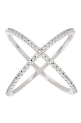 18K White Gold Plated Sterling Silver Pave Cz X Ring Metallic