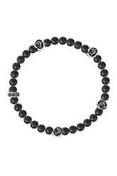 King Baby Studio Sterling Silver Rose And 6Mm Onyx Bead Bracelet Black