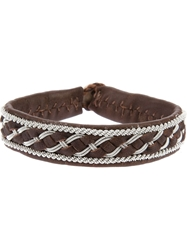Ulla Soucasse Woven Leather And Silver Bracelet Brown