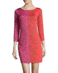 Julie Brown Goldie Leopard Print Shift Dress Pink Sassy