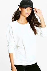 Boohoo Maiya Crew Neck Oversized Sweat Shirt Cream