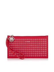 Versus By Versace Versus Versace Eyelet Clutch Bag Red