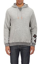 Burkman Bros. Floral Print French Terry Hoodie Grey