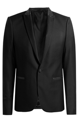 The Kooples Wool Twill Blazer With Leather Collar