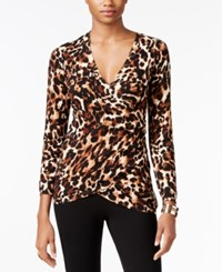 Thalia Sodi Printed Faux Wrap Sweater Only At Macy's Leopard