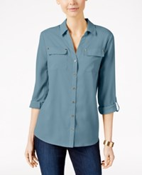 Charter Club Utility Shirt Only At Macy's Cloudy Blue