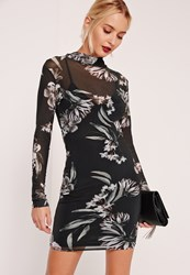 Missguided Printed Mesh Bodycon Dress Multi Floral Multi