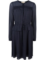 Michael Michael Kors Small Pattern Longsleeved Dress Blue