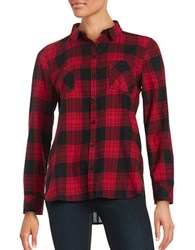 Beach Lunch Lounge Long Sleeved Flannel Button Front Shirt Red