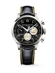 Baume And Mercier Capeland Cobra Stainless Steel And Alligator Automatic Chronograph Strap Watch Black Yellow