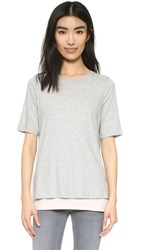 Vince Double Layer Colorblock Tee Heather Grey Buff