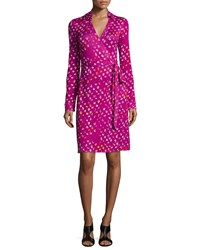 Diane Von Furstenberg Long Sleeve Polka Dot Wrap Dress Daisy Buds Women's Daisy Buds Tny Nw
