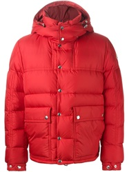 Moncler Gamme Bleu Hooded Padded Jacket Red