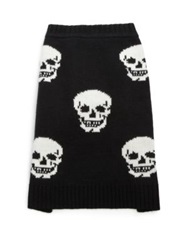 360 Cashmere Luther Mini Skull Print Dog Sweater Black White Heather Grey