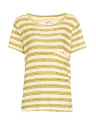 Current Elliott Striped Cotton And Hemp Blend T Shirt Yellow Stripe
