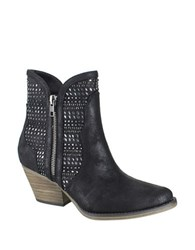 Mia Austin Point Toe Leather Ankle Boots Black