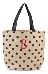 Cathy's Concepts Personalized Polka Dot Jute Tote Black Black B