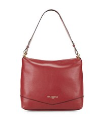 Karl Lagerfeld Pebbled Leather Hobo Bag Bordeaux