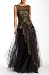 Marchesa Lace And Tulle Full Length Gown Black