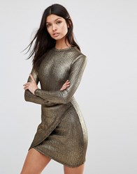 Club L Asymmetric Long Sleeve Detail Dress In Metallic Rib Gold Rib