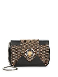 Dannijo Rocha Embellished Raffia And Leather Clutch Bronze