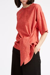 Msgm Chambray Tie Waist Top Red
