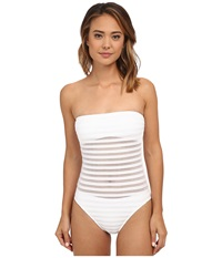 Lauren Ralph Lauren Ottoman Mesh Strapless One Piece W Soft Cup And Sport Logo Plate White Women's Swimsuits One Piece