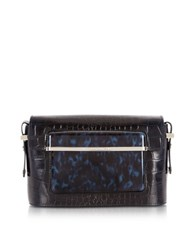 Mary Katrantzou Embossed Croco And Printed Patent Leather Mvk Small Shoulder Bag Navy Blue