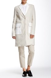 Theory Lagata Genuine Leather Trim Linen Blend Coat White