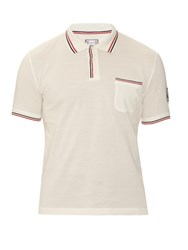 Moncler Gamme Bleu Contrast Trim Cotton Pique Polo Shirt White