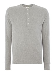 Gant Diamond G Henley Long Sleeve T Shirt Grey