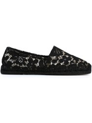 Dolce And Gabbana Floral Lace Espadrilles Black