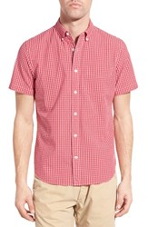 Men's Relwen Classic Fit Check Short Sleeve Sport Shirt Raspberry Check