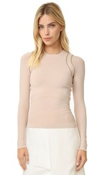 Narciso Rodriguez Long Sleeve Knit Top Nude Nude