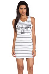 Junk Food New York City Star Chaser Striped Tank Dress White