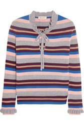 Paul And Joe Elinda Ruffled Striped Wool Blend Sweater Gray