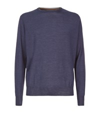 Peter Millar Wool And Silk Crew Neck Jumper Male Blue