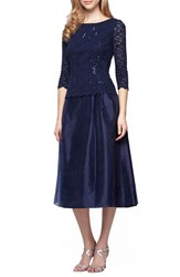 Alex Evenings Petite Women's Mixed Media Fit And Flare Dress Navy