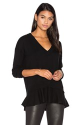 Autumn Cashmere Ruffle V Neck Sweater Black