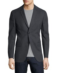 Red Valentino Notched Collar Two Button Blazer Gray Checkered Men's