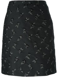 Lanvin Floral Embroidered Skirt Black
